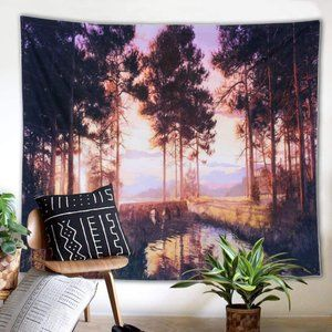 Landscape Wall Hanging Tapestry Sunset Trees 51x59